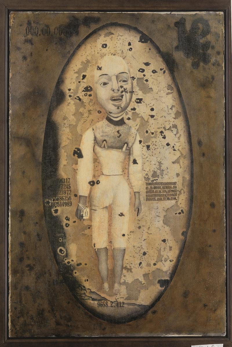 Charles Benefiel, zonder titel, ca. 1990, gemengde techniek op karton. Collectie abcd, Parijs