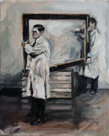 Le cadre qui entoure la peinture, porté par le peintre et son galeriste. 30 on 24 cm Hervé Martijn