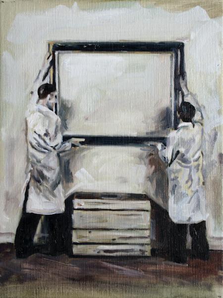 Les travaux préparatoires pour la foire d'art .40 on 30 cm Herve Martijn