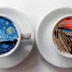 Kunst in een tas koffie