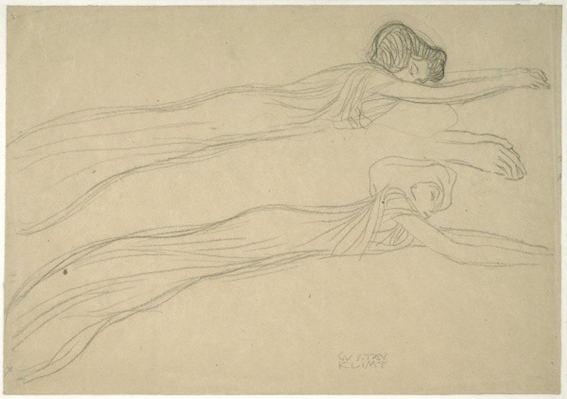 """Two Studies of a Reclining Draped Figure,"" a 1901 black chalk drawing by Gustav Klimt. On view at the J. Paul Getty Museum through Sept. 23."