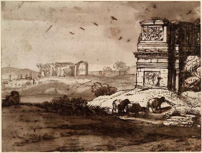 lorrain-arch-of-constantine-c1645-drawing-bm