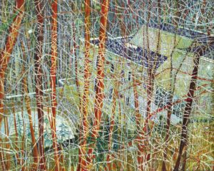 Peter Doig B. 1959 THE ARCHITECT'S HOME IN THE RAVINE signed, titled and dated 1991 on the reverse oil on canvas 200 by 250 cm. 78 7/8 by 98 3/4 in.