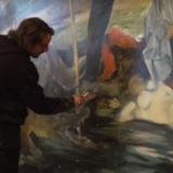"""Guy Slabbinck tijdens het maken van zijn """"Saturnus"""""""
